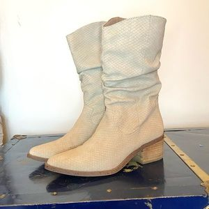 Ivory Slouch Faux Snakeskin Western Heeled Boot